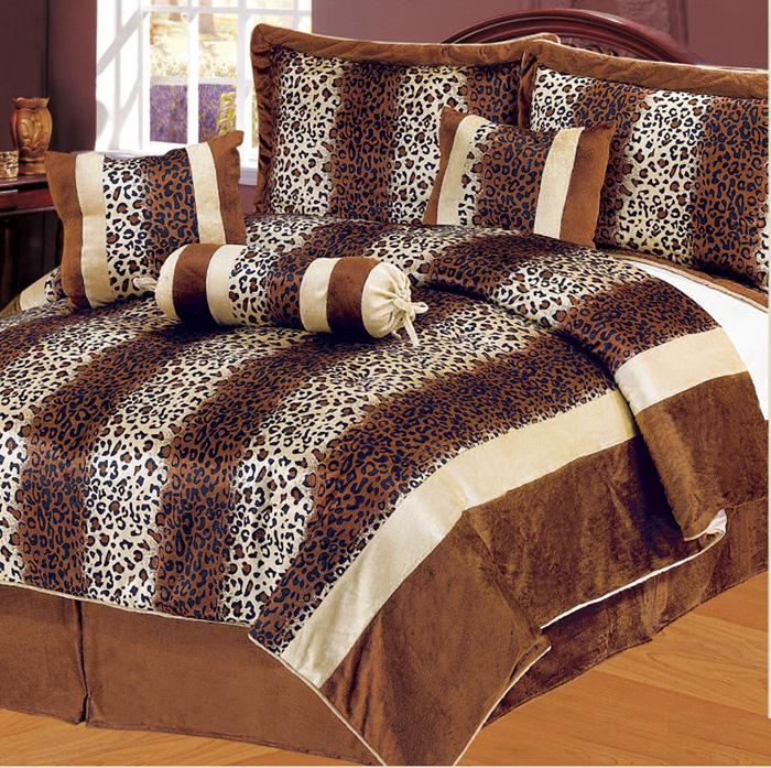 7pcs queen leopard brown micro fur comforter set ebay - Cheetah print queen comforter set ...