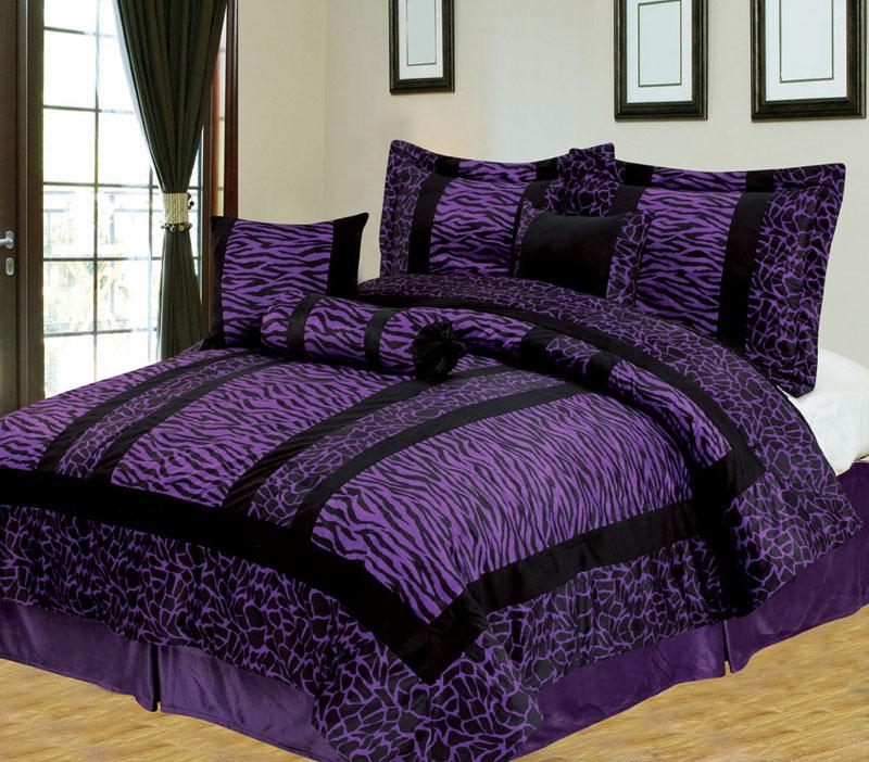 ... about 7Pcs King Giraffe/Zebra Purple and Black Micro Fur Comforter Set
