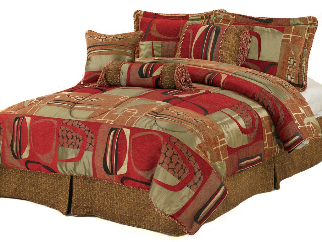 KingLinen 7 Piece Queen Firenze Chenille Comforter Set