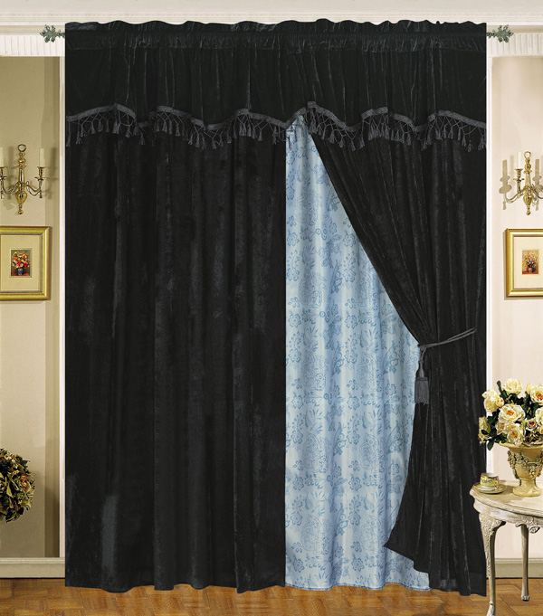 black sheer curtains with attached valance. Black Bedroom Furniture Sets. Home Design Ideas