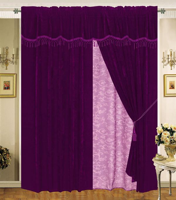 Details about velvet purple plum curtain set w valance sheer tassels