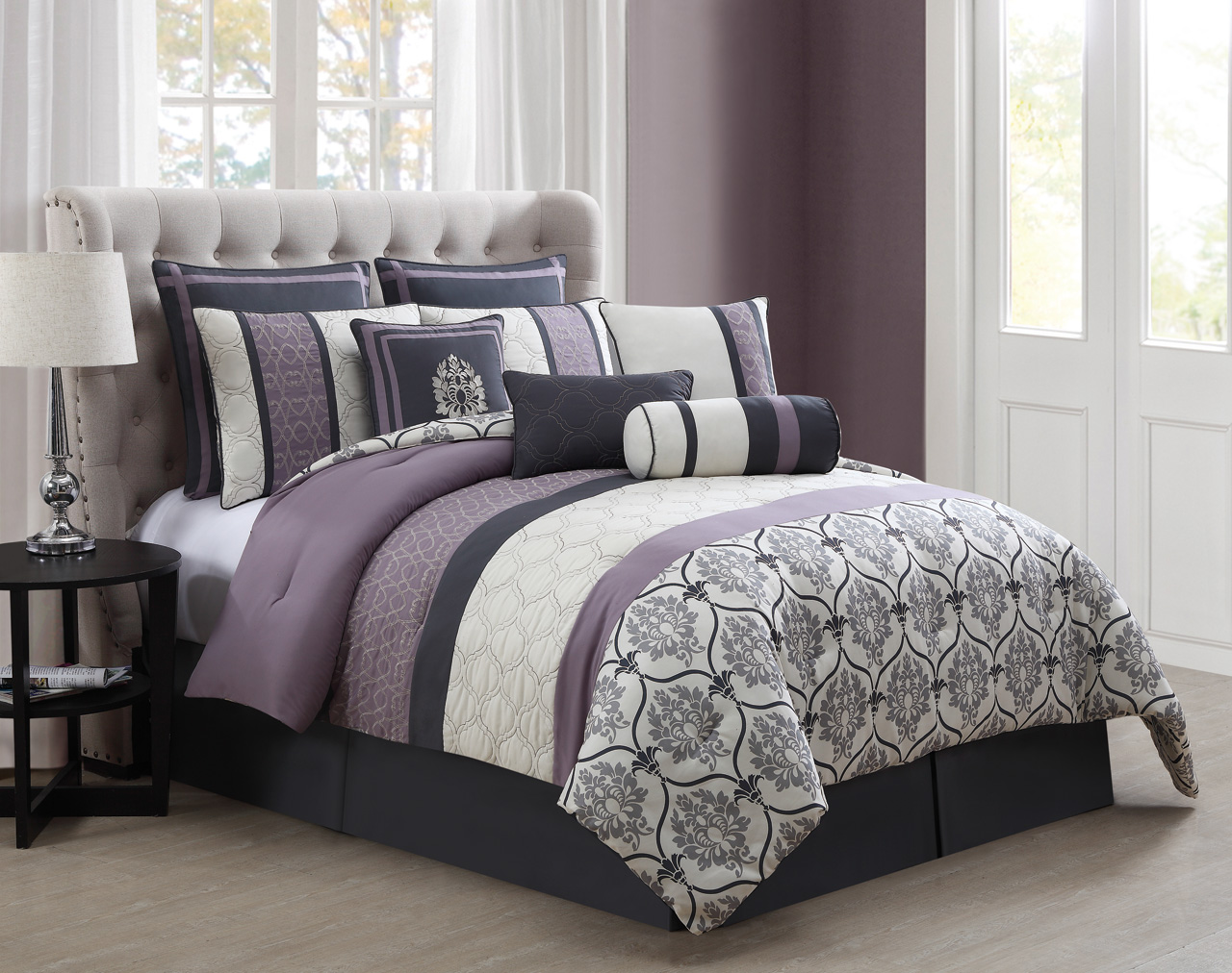 10 piece darla gray and lilac comforter set ebay for Lilac and purple bedroom