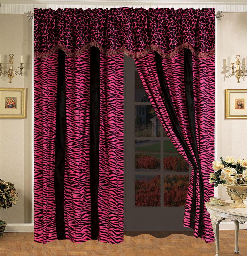 Details zu giraffe zebra pink and black micro fur curtain set