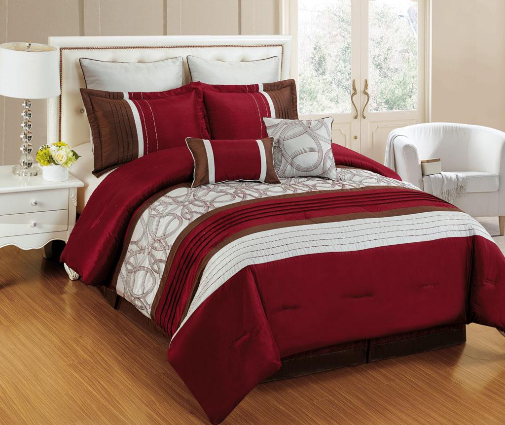 KingLinen 8 Piece Emerson Burgundy/Ivory Rust Bedding Comforter Set