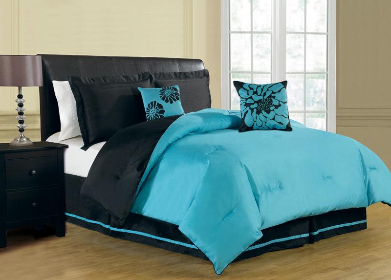 ... about 6 Piece Queen Haper Reversible Comforter Set Turquoise/Blac k