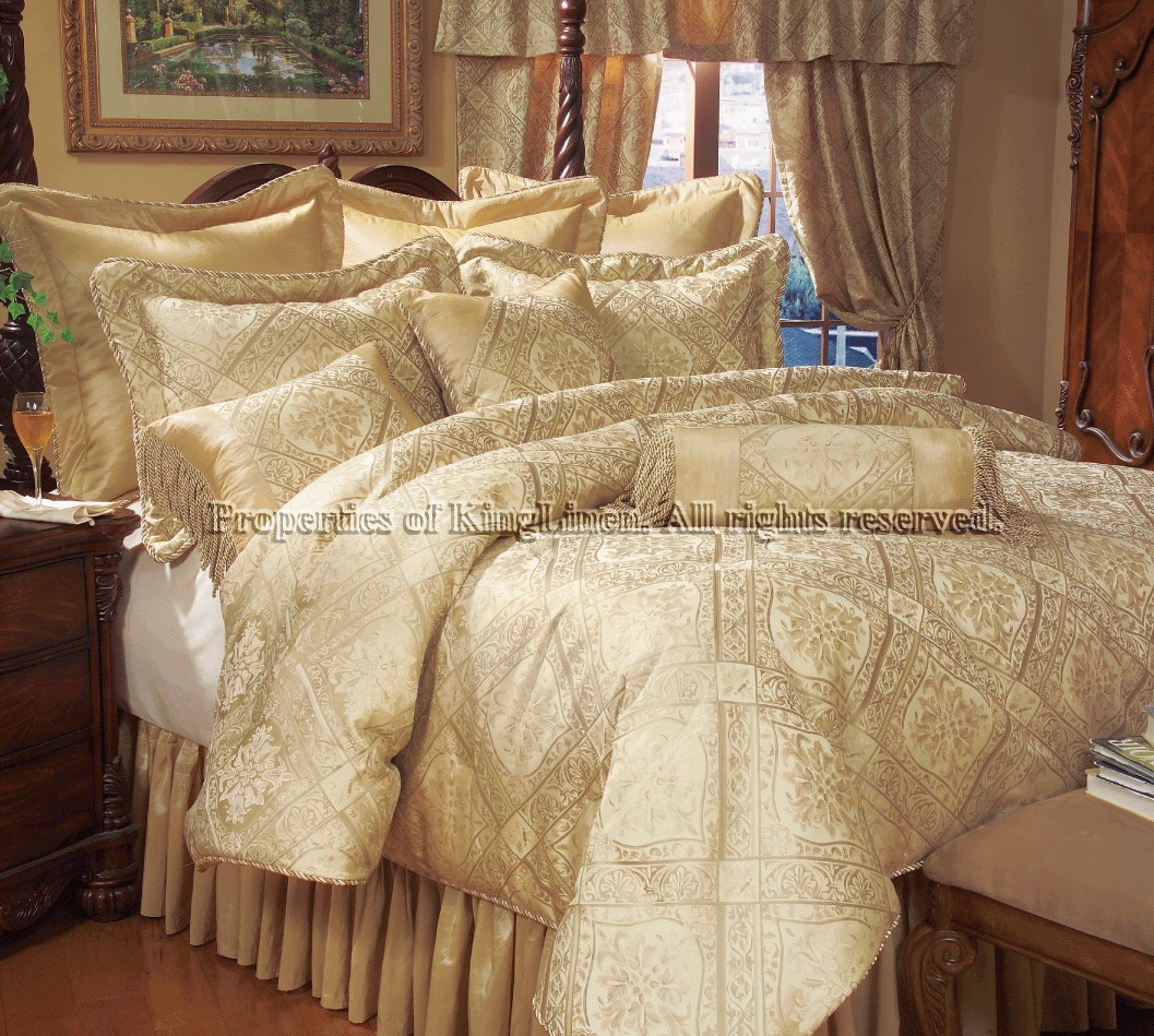 18 Piece King Gold Imperial Bed In A Bag W Sheet Set And Curtain Set Ebay