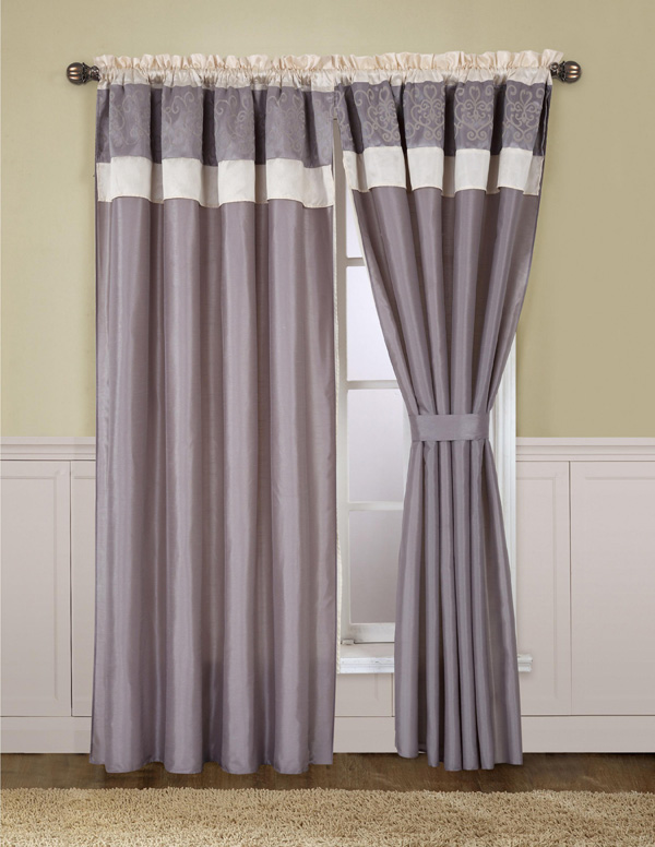 isabella beige and grey curtain set. Black Bedroom Furniture Sets. Home Design Ideas