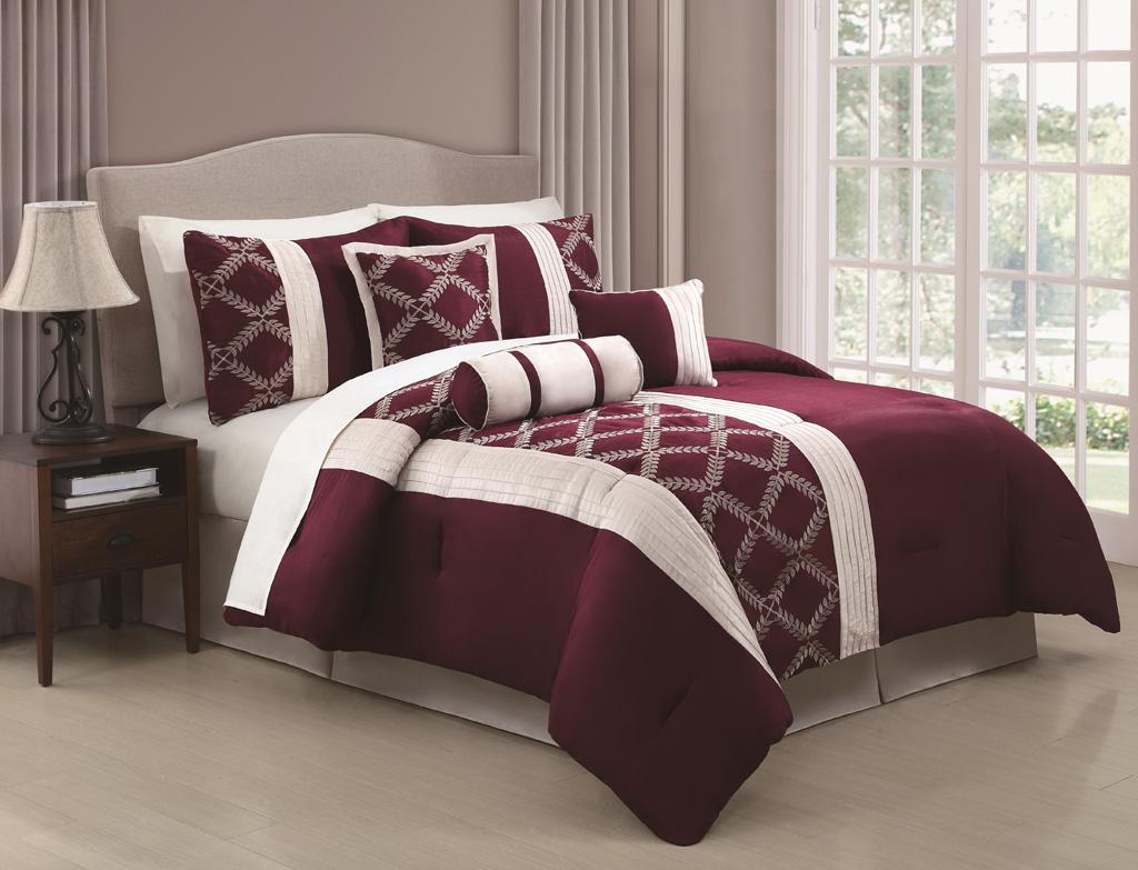 KingLinen 7 Piece Julius Oxblood/Ivory Embroidered Comforter Set