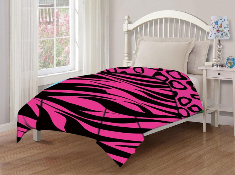 Juvenile Reversible Zebra Cheetah Pink Comforter Twin