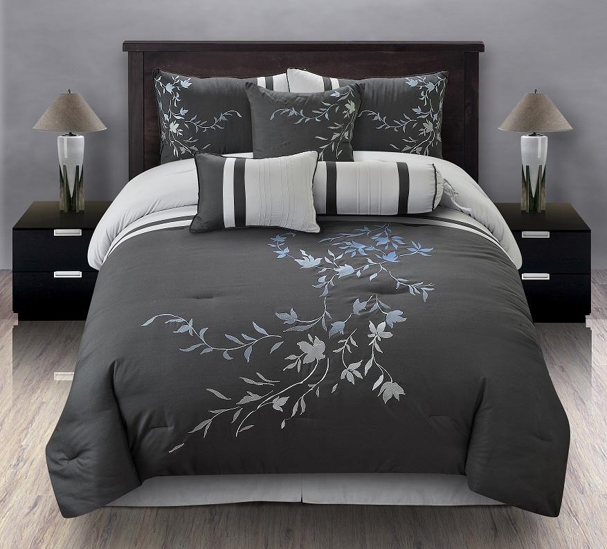 7pcs queen karissa embroidered comforter set black white. Black Bedroom Furniture Sets. Home Design Ideas