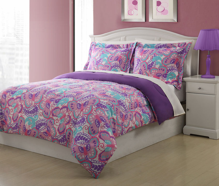 Twin microfiber kids paisley butterfly bedding comforter for Bedding violet