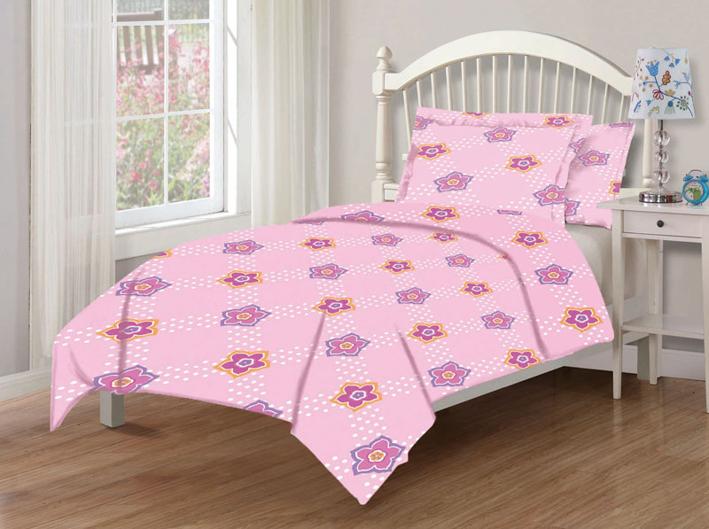 KingLinen Full Microfiber Kids Tabitha Dot Floral Bedding Comforter Set