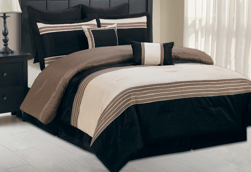 8pcs king manolo taupe and black comforter set ebay