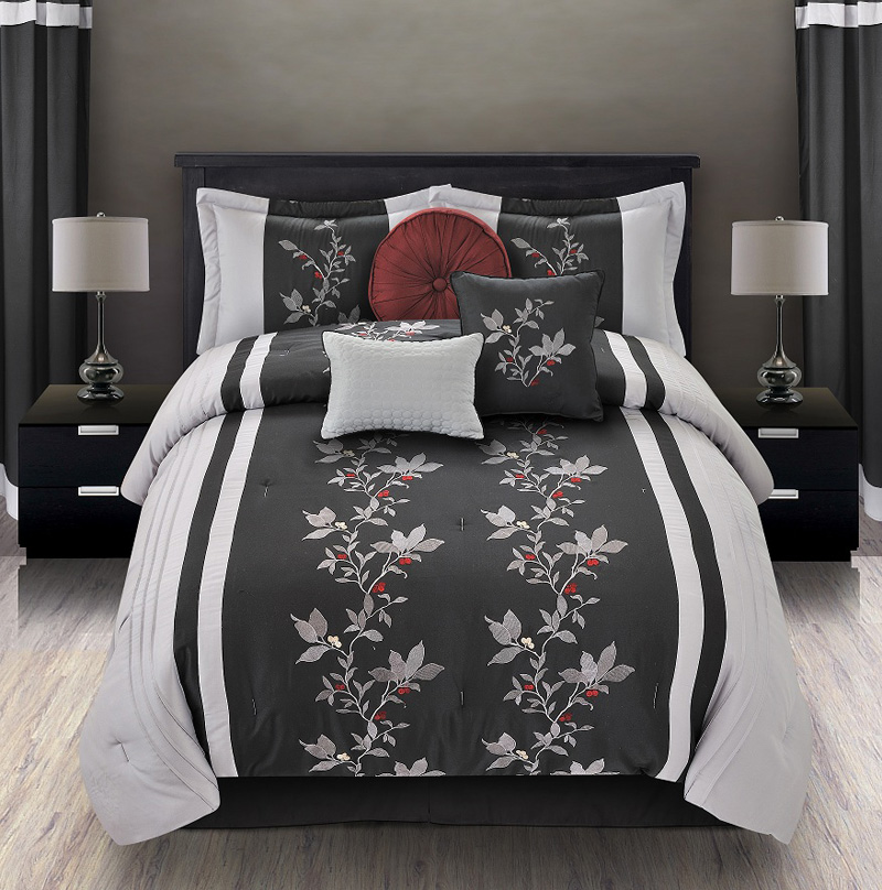 7pcs queen mia embroidered comforter set black gray - Gray and black comforter set ...