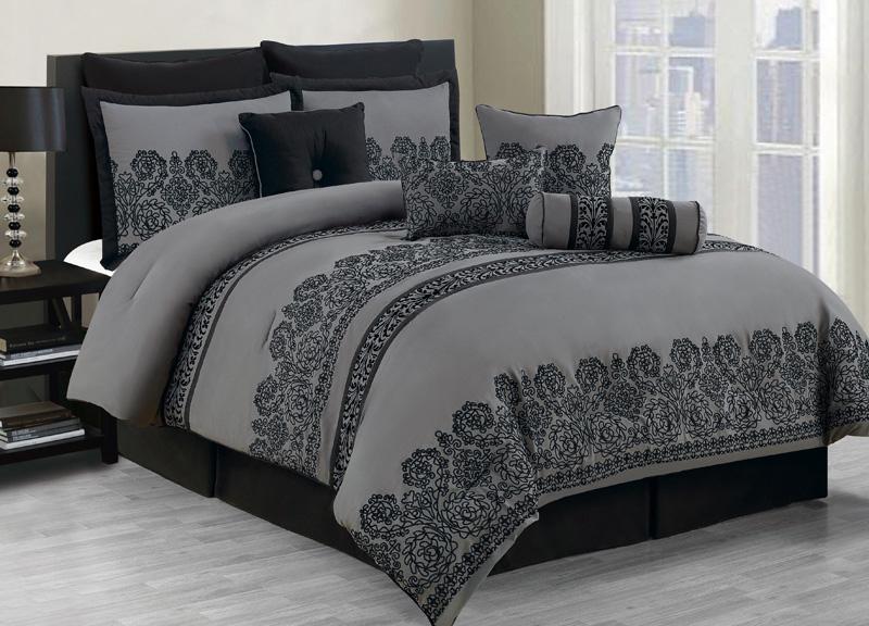 10 piece king miya black and gray comforter set ebay - Gray and black comforter set ...