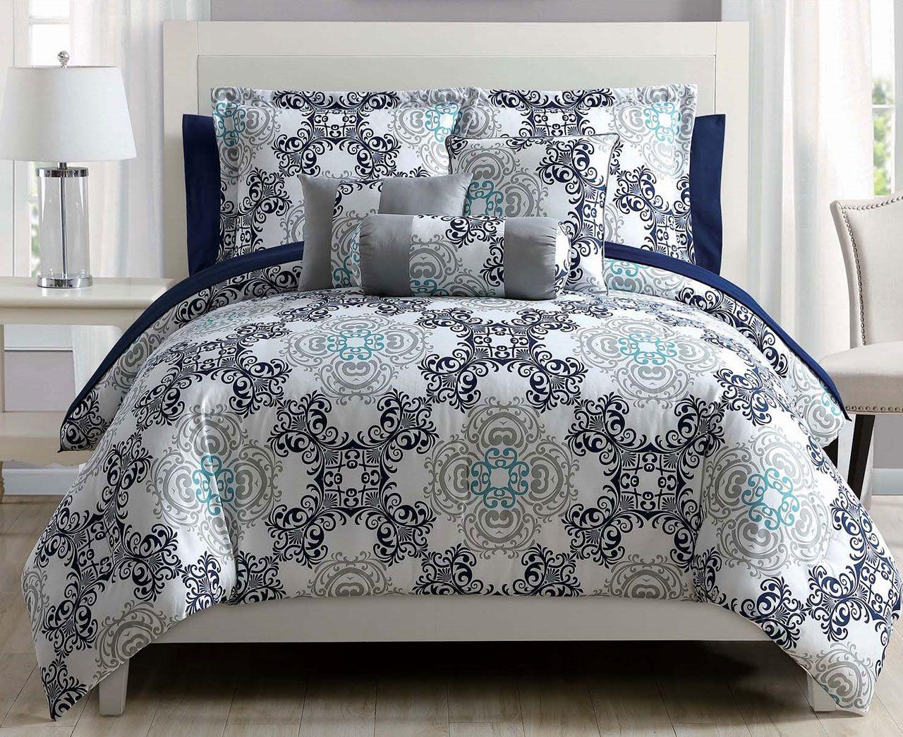 10 piece olena gray gold white comforter set w sheets ebay. Black Bedroom Furniture Sets. Home Design Ideas