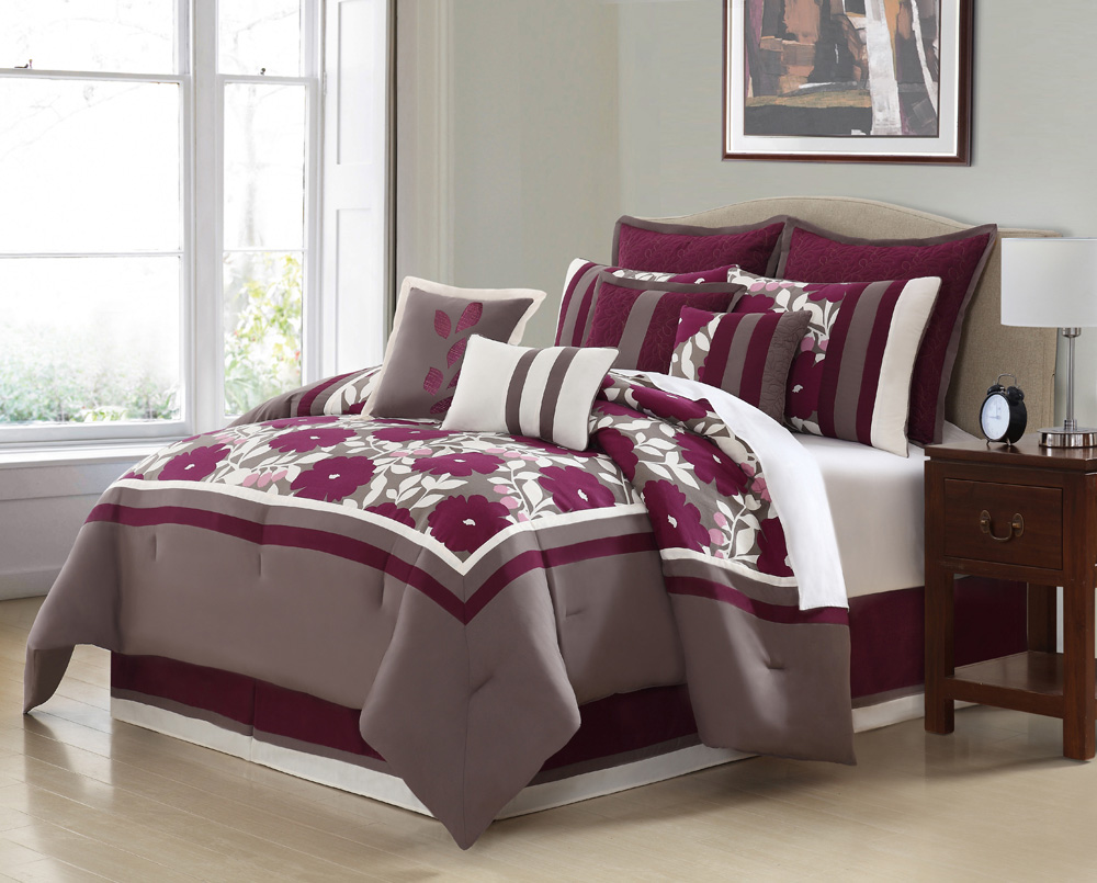 10 piece queen oslo purple and taupe comforter set ebay for Purple and taupe bedroom