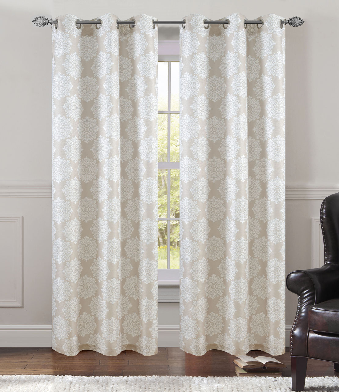 5 Panel Window : Pair of atlantis window curtain panels w grommets