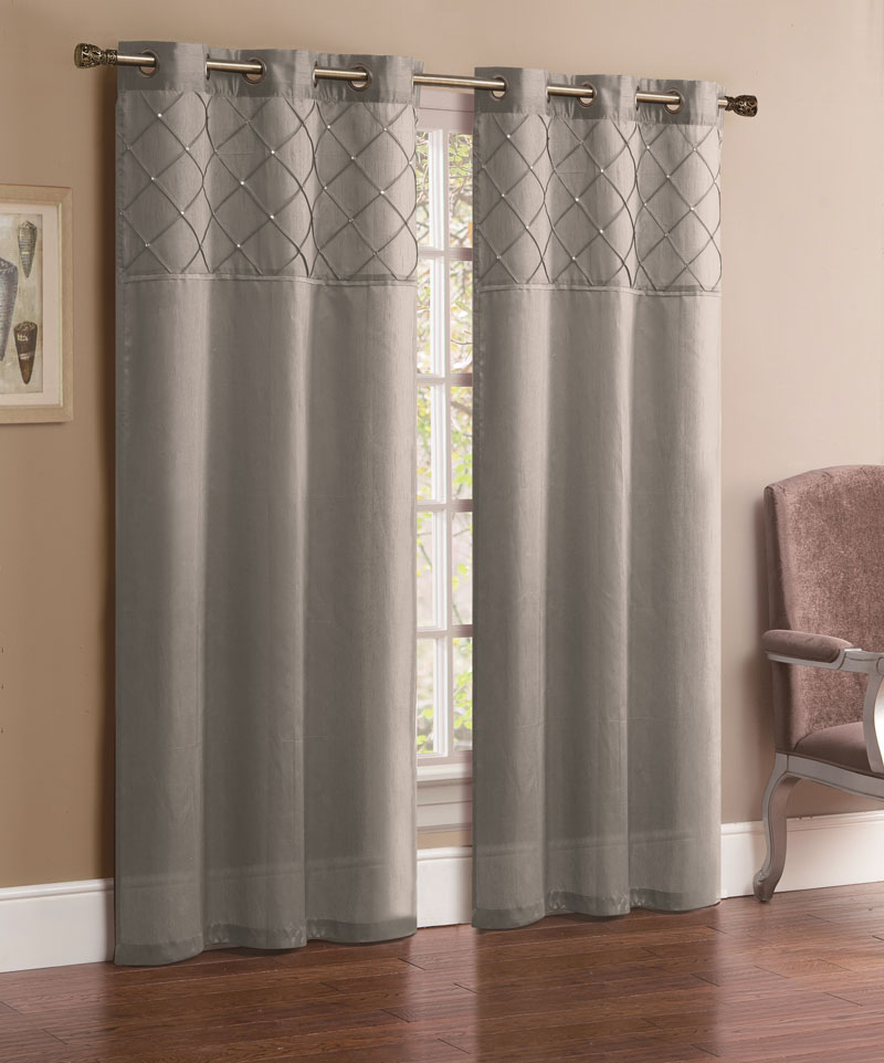Pair Of Jessica Silver Faux Silk Window Curtain Panels W Grommets Ebay