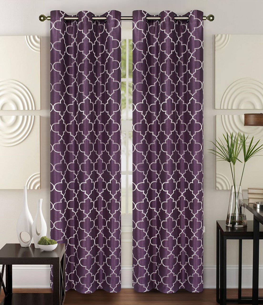 5 Panel Window : Pair of piper faux silk window curtain panels w grommets