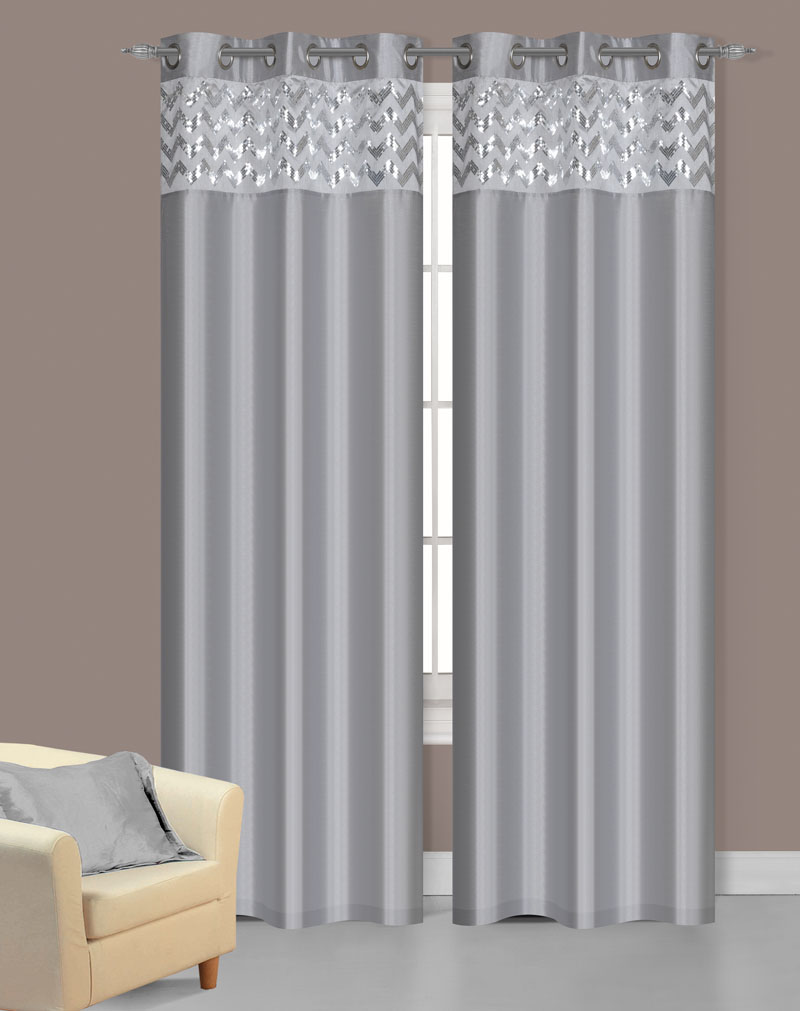 Pair Of Sparkle Silver Faux Silk Window Curtain Panels W