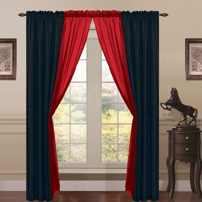 Red Window Curtain Panels Sale: 6 Piece Lana Faux Silk Window Curtain Panels Black/Red