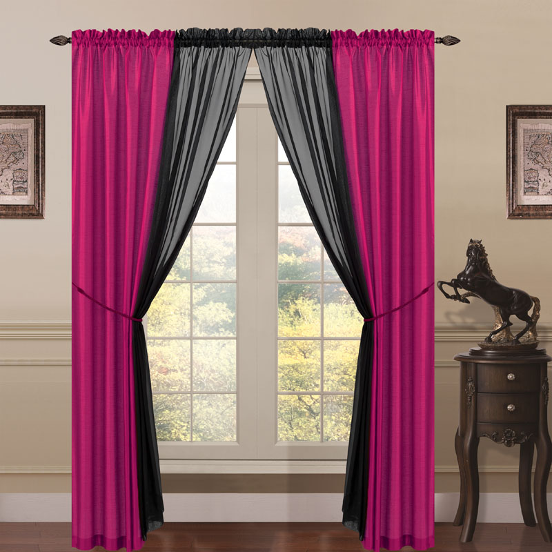 about 6 piece lana faux silk window curtain panels hot pink black