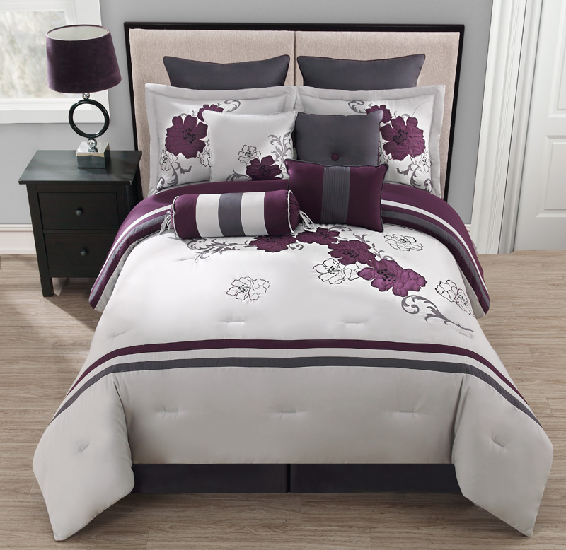 Purple And Gray Bedroom: 10 Piece King Poppy Purple And Gray Comforter Set