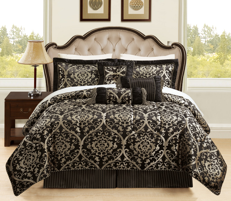 7 Piece Queen Prague Jacquard Black And Gold Comforter Set Ebay