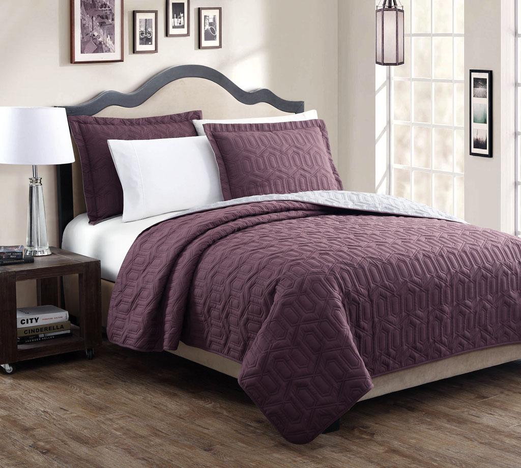 Stenson Navy Ivory Reversible Bedspread Quilt Set Queen Ebay