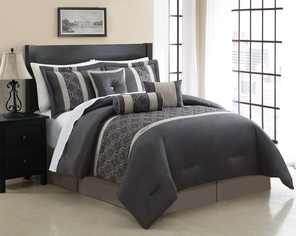 details about 7 piece queen renee embroidered comforter set