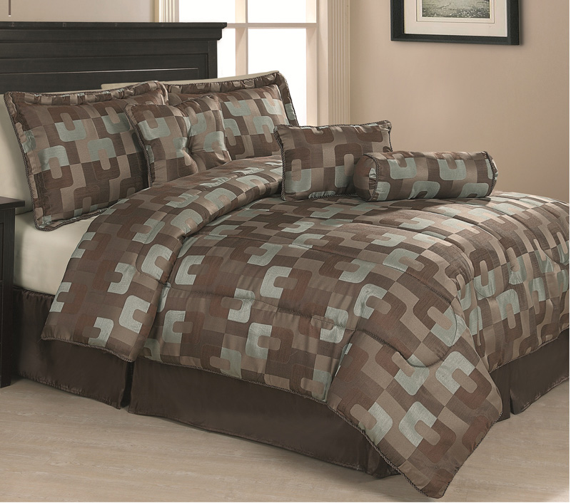 11 piece queen riviera geo bed in a bag bedding set ebay. Black Bedroom Furniture Sets. Home Design Ideas