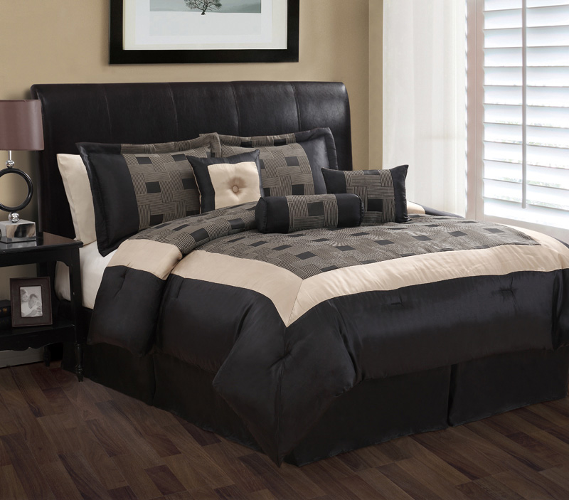 7 piece king theo black and gray jacquard comforter set ebay - Gray and black comforter set ...