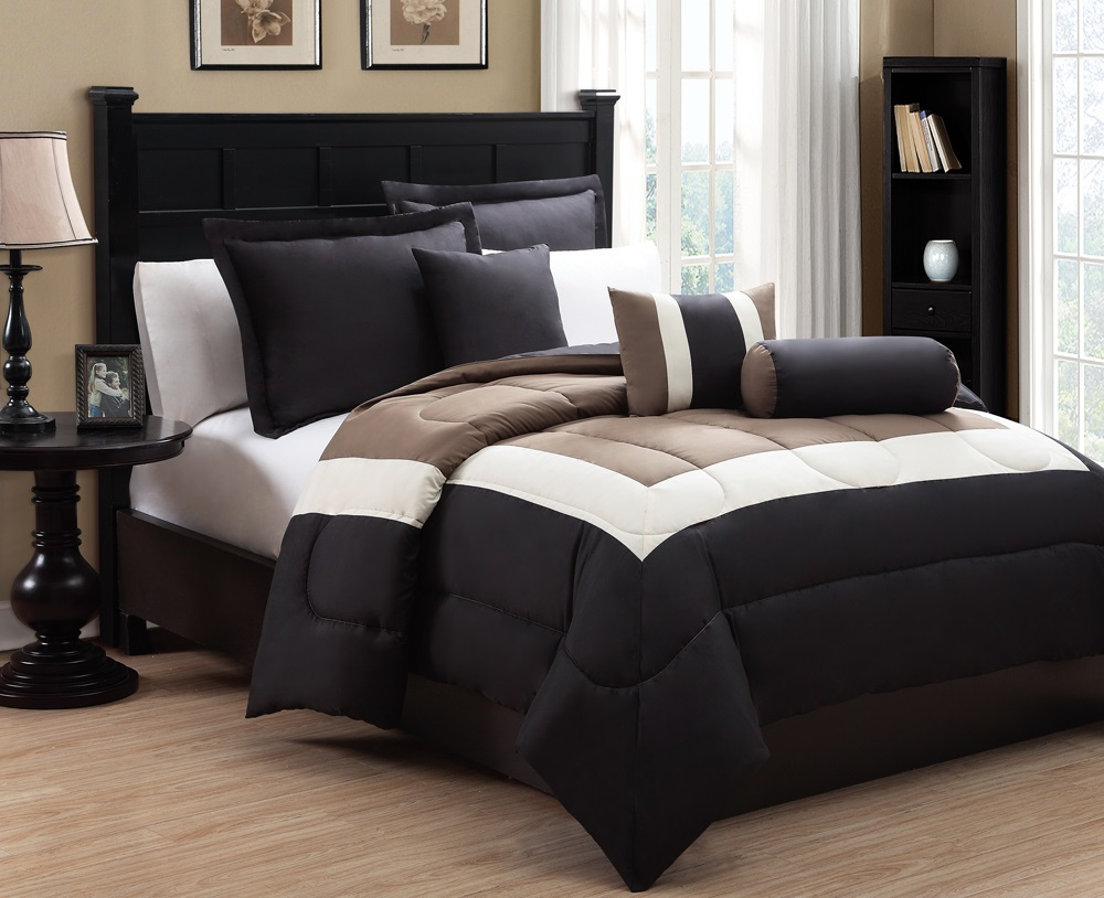 6 piece king tranquil black and taupe comforter set ebay for Black white taupe bedroom