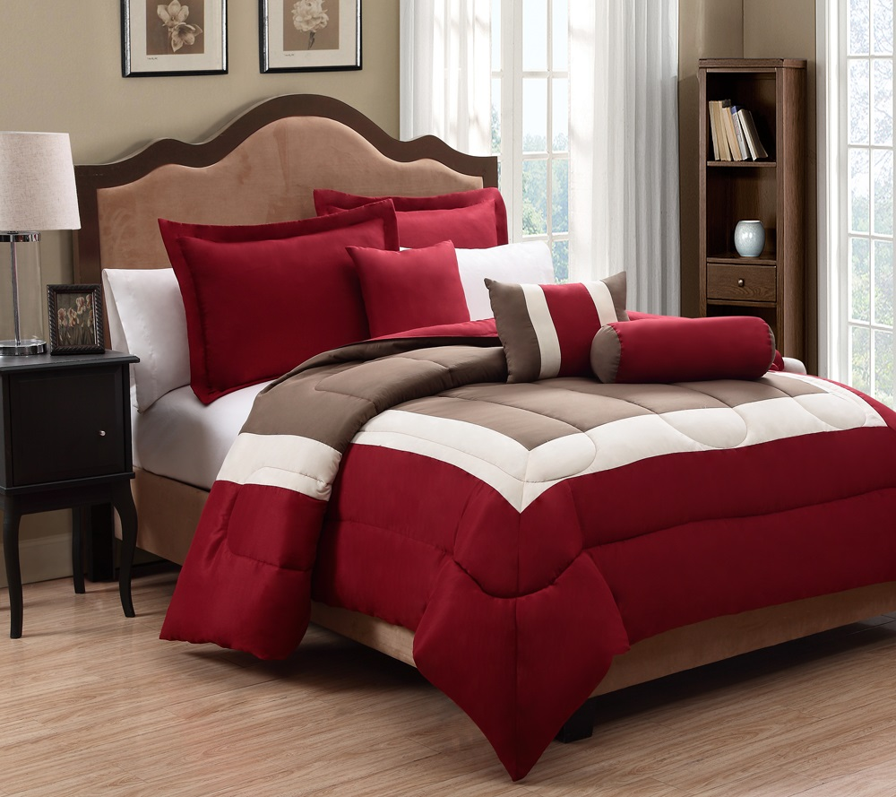 6 piece king tranquil red and taupe comforter set ebay. Black Bedroom Furniture Sets. Home Design Ideas