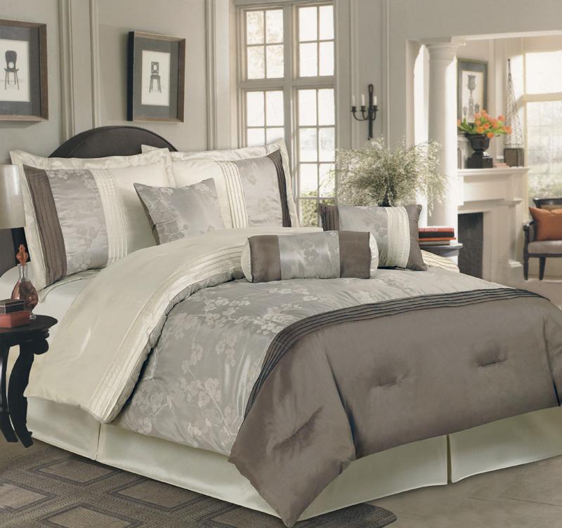 details about 7pcs king yurika taupe beige comforter bedding set