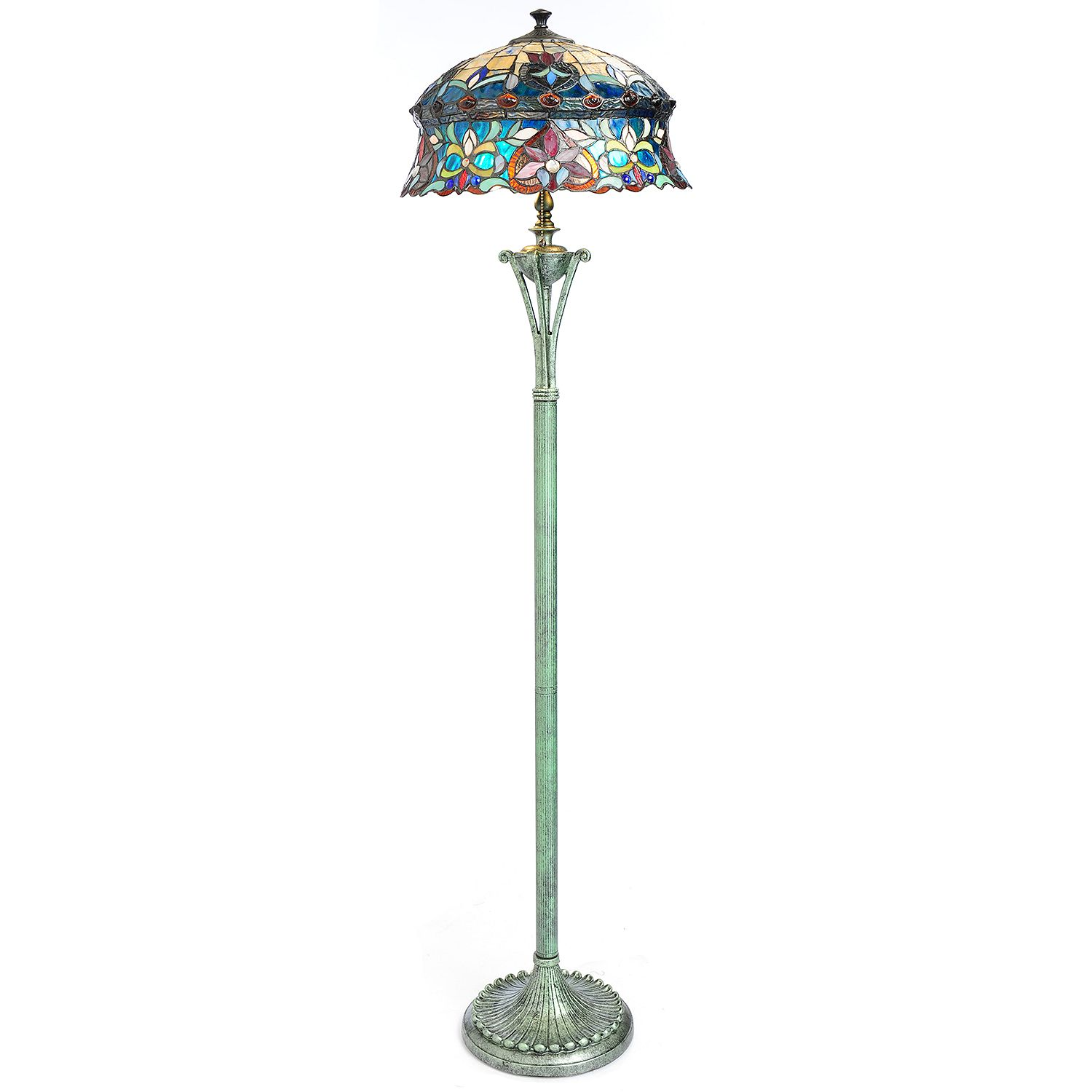 Tiffany style 64quot blue opal stained glass bonnet style for Floor lamp with blue glass