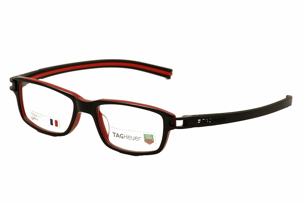 tag heuer sunglasses 8yxx  Tag Heuer Eyeglasses Track S TH7602 7602 001 Black TagHeuer Optical Frame  52mm