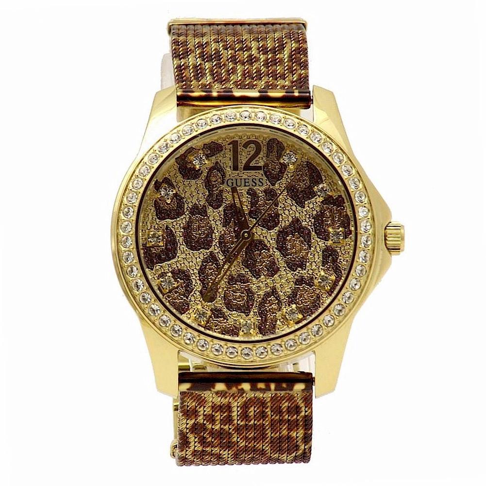 Guess women 39 s u0333l1 gold tone swarovski crystals analog watch ebay for Swarovski crystals watch