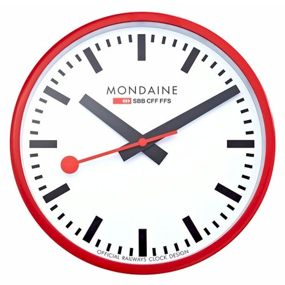 Mondaine clocks a990 red white analog wall clock - Mondaine wall clock cm ...