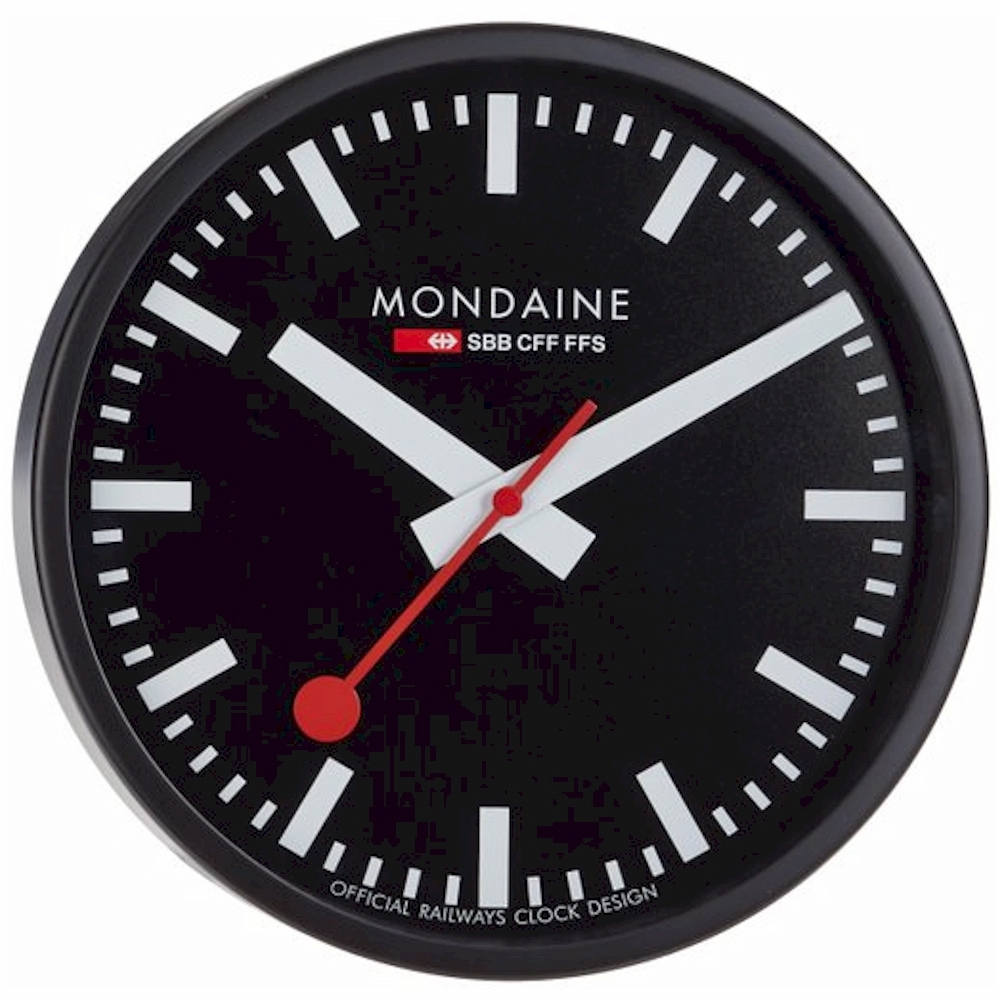 Mondaine clocks a990 black analog wall clock ebay - Mondaine wall clocks ...