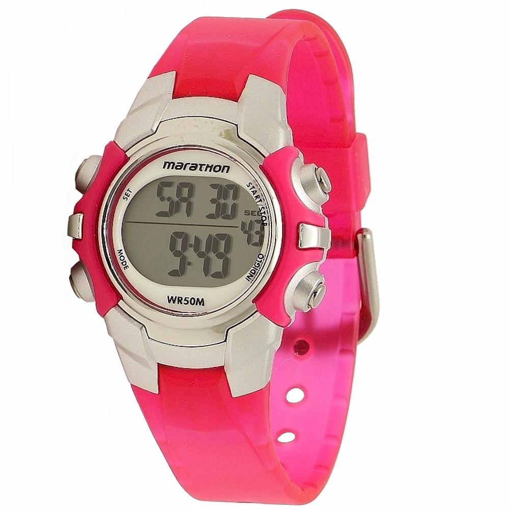 Timex women 39 s marathon t5k8089j indiglo pink silver digital sport watch ebay for Indiglo watches