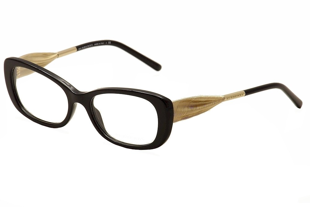 Burberry Ladies Eyeglass Frames : Burberry Womens Eyeglasses BE2203 BE/2203 3001 Black/Gold ...