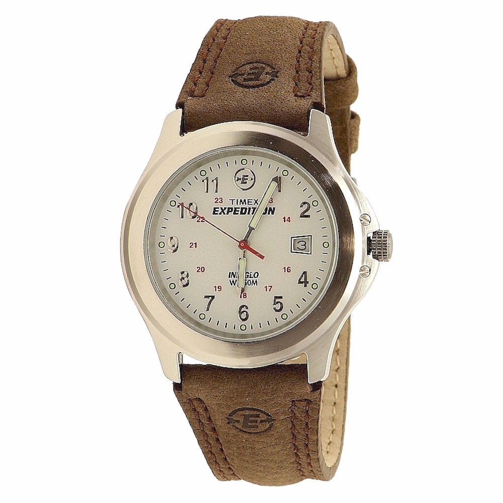 Timex men 39 s expedition metal field t443819j indiglo silver brown analog watch 48148443815 ebay for Indiglo watches