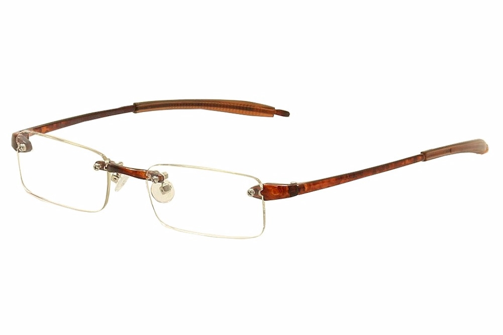 Rimless Glasses Polished Edges : VisuaLites Eyeglasses Vis1 Tortoise Rimless Reading ...
