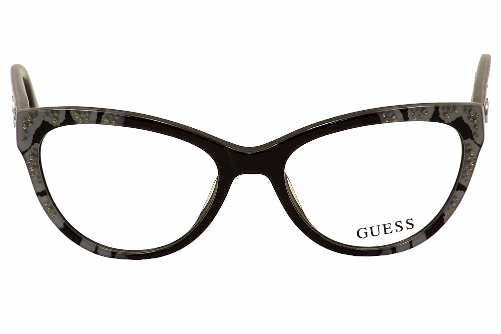 Guess Eyeglass Frames Blue : Guess Eyeglasses GU2554 GU/2554 001 Black/Blue Cat Eye ...