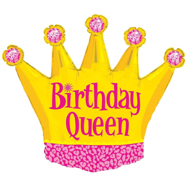 "XL 36"" Birthday Queen Gold Crown Girls Super Shape Mylar Foil Balloon Party"