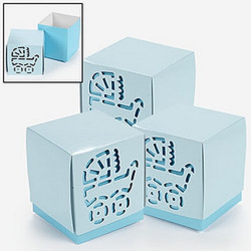 details about lot of 12 cardboard blue baby boy shower favor boxes