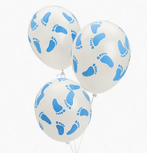 """25 Baby Shower Party Blue Footprint Latex Balloons 11"""""""