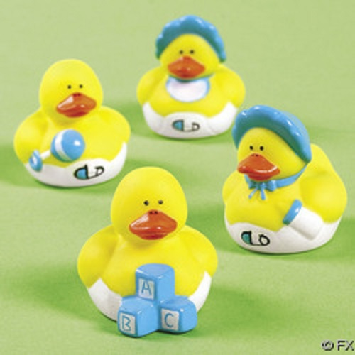 details about 24 mini baby boy rubber duck duckys blue shower favors